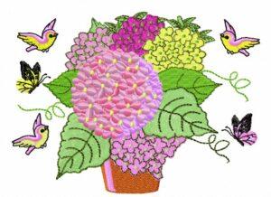 Hortensia Oiseaux Papillons