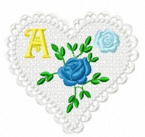Alphabet Cœur Roses bleues (FSL)