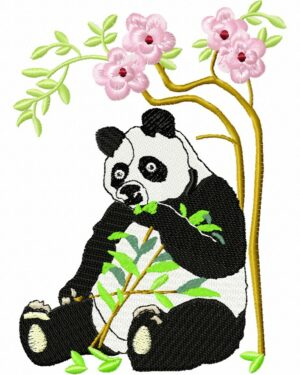 Panda bambou fleuri