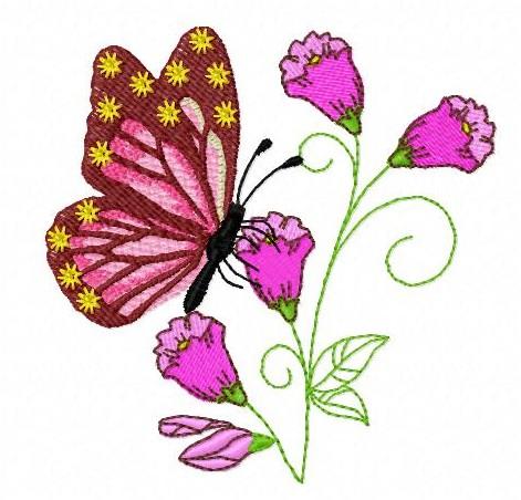 Motif à broder – Bouquet Papillon