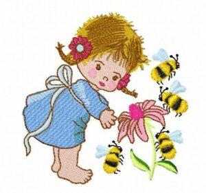 Fillette abeilles