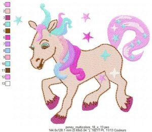 Poney multicolore