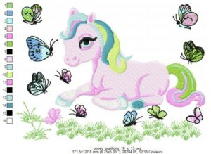 Poney papillons